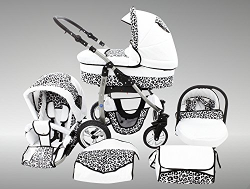 Chilly Kids Dino Kinderwagen Sommer-Set (Sonnenschirm, Autositz & Adapter, Regenschutz, Moskitonetz, Getränkehalter, Schwenkräder) 32 Weiß & Snow Leopard
