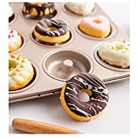 ケーキ型 ドーナツの金型ケーキパン、オーブン焼きのための12-キャビティノンスティックリングドーナツ耐熱皿、 パンベーキングトレイ