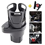 Car Dual Cup Holder, VanCenterConsole CupHolderExpander for Drinks, Universal Detachable Multifunctional Vehicle-Mounted 2 in 1 Coffee CupHolderAdapter with 360°Rotating Adjustable (Black)