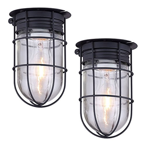 2 Pack of Outdoor Caged Lights Barn Ceiling Exterior Wall All Weather with Cage, Black