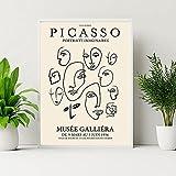 laminas para cuadrosArte de pared de líneas abstractas de Picasso Poster de paloma con cara de mujer famosa exposición pinturas en lienzo impresiones Decoracion de Cuadros Retro60x80cm x1 Sin Marco