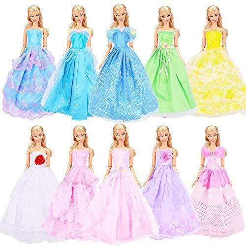 WENTS Barbie-Kleidung zubehör Set 10 Stück Puppenkleidung Partei-Kleid Outfits Kleidung Kleid Pupenkleidung Spitzenkleider Ballkleider