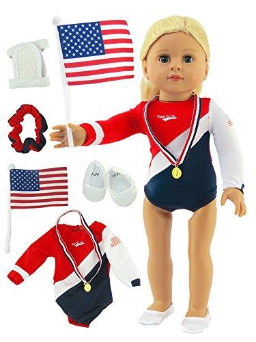 American Fashion World Super Fun Gymnastic 5 PC Set for 18 inch Dolls