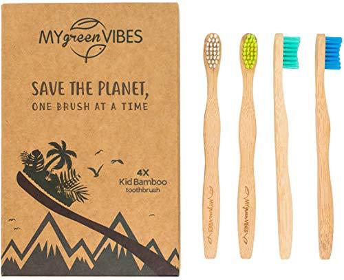 My Green Vibes 4 Kinder-Zahnbürsten aus Bambus, natürliche Kinder-Zahnbürste, weiche Borsten, Regenbogenfarben, BPA-frei, für Kleinkinder, 3-8 Jahre alt, biologisch abbaubarer Griff