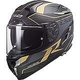LS2 Casque moto FF327 CHALLENGER CT2 GRID MATT CARBON GOLD, Noir/Or, M