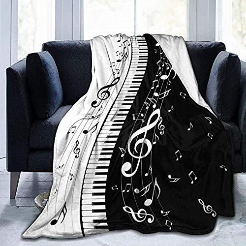 QMGLBG 3D-Druck Flanelldecke Schwarz-Weiß-Musikdecke Jungen und Mädchen Plüsch super weich antiallergisch Bequeme Sofa Schlafzimmer Bettwäsche-150cm * 180cm