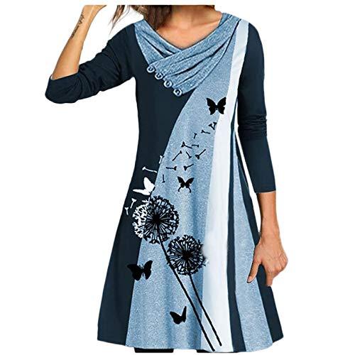 Masrin Mask Frauen Kleid Mode Schmetterling Löwenzahn Print Rock Doppelschicht Kragen Langarm Button Stitching Sommerkleid(L,Blau)