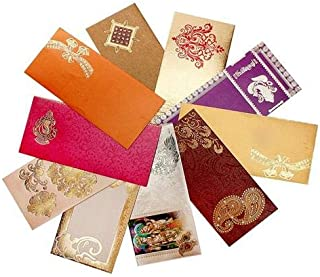 Shagun Gift Envelope (Pack of 10+2 Free) Assorted Color Designs Money Holder Card Fancy Packet for Christmas Diwali