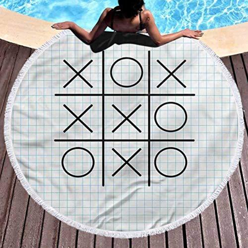WlyFK Toalla de Yoga Redonda Mat XO Tapiz Redondo Tic TAC Toe Squares Toalla de Playa de Microfibra Escolar para Viajes (diámetro 59 ')