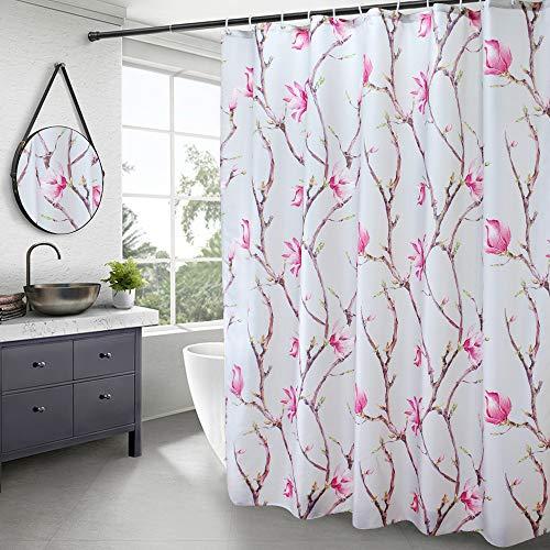 AooHome Duschvorhang aus Stoff, strapazierfähig, rote Pfirsichblüte, Badezimmer-Vorhang mit Haken, beschwerter Saum, wasserdicht, 180 x 190 cm