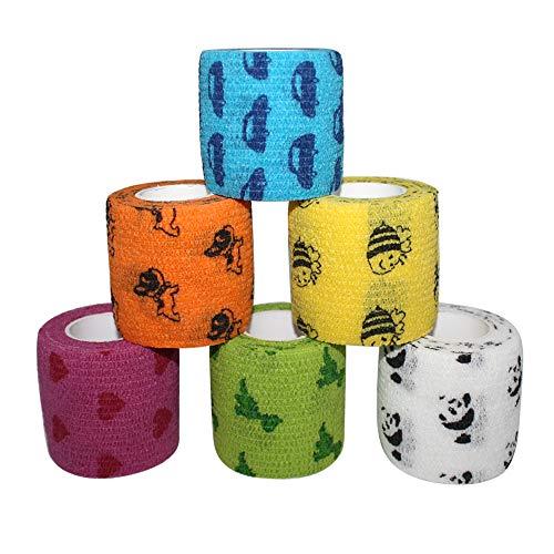 Self Adhesive Bandage Tape-Self Adherent Stretch Bandage Wrap,Athletic Tape/Vet Tape,2Inch 5Yards-6 Count