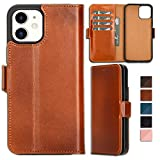 Bayelon Folio Leather Wallet Case for iPhone 12 & 12 Pro 6.1', ID Slot with RFID, Flip Cover (Rustic Tan)