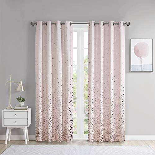 Intelligent Design Zoey Blackout Curtains Metallic Print Grommet Top Window Panel Living Room Thermal Insulated Light Blocking Drape for Bedroom and Apartments, 50' x 84', Blush/Rosegold