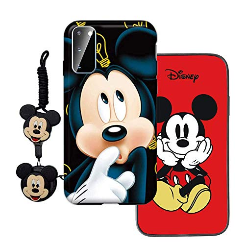 MME Cartoon Case for Galaxy A71 5G - Mickey Minnie Mouse Case Cute 3D Character Case Soft TPU with Phone Stand Holder and Neck Strap Lanyard for Girls (Blue, A71 5G)