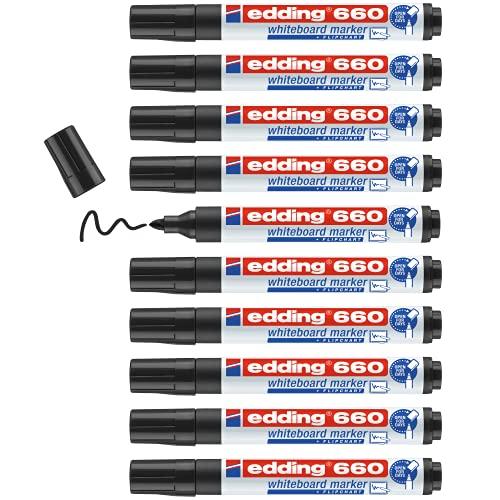 Edding 660 marcador para pizarras blancas - negro - 10 rotuladores - punta redonda 1.5-3 mm - rotulador para pizarra blanca, borrado en seco - pizarra blanca, flipchart, tablón de notas - recargable