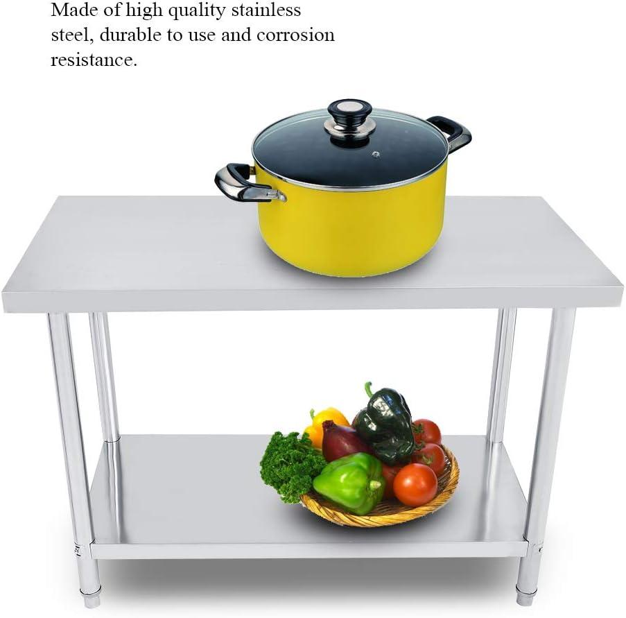 2FT//3FT//4FT Stainless Steel Work Table Kitchen DIY Professional Work Table in 2 Shelves Work Table Preparation for Kitchen Bar Restaurant Garage 122X61X85CM