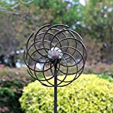 Reasin 75in Solar Wind Spinner Improved 360 Degrees Swivel Multi-Color LED Lighting Solar Powered Glass Ball with Kinetic Wind Spinner-Metal Sculpture for Outdoor Yard Lawn & Garden. (75)