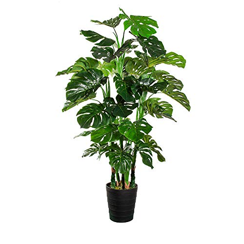 HTT Decorations - Künstliche Monstera - Hochwertige Kunstpflanzen - 140 x 80 cm, Untertopf mit 18 cm Durchmesser