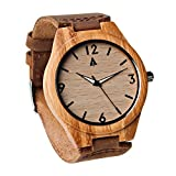 Treehut Men's Bamboo Wooden Watch with Genuine Brown Leather Strap...