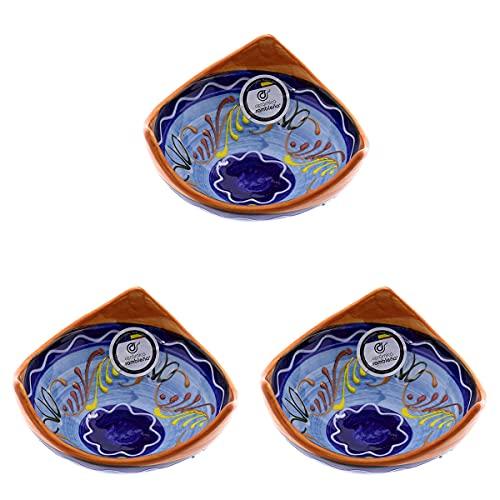 CERÁMICA RAMBLEÑA | Cuencos Bol Bowl | Cuencos de aperitivo | Cuencos cocina | Bol cerámica decorado pack x3 - Modelo 02 | 100% Decorado a mano | 13x13x6.5 cm