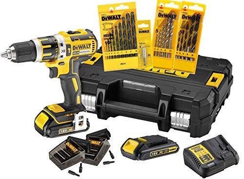 DeWalt XR Akku-Schlagbohrschrauber Set DCK795S2T – Schlagbohrmaschine mit 2-Gang-Vollmetallgetriebe & bürstenlosem Motor zum Schrauben, Bohren & Schlagbohren – 1 x Schlagbohrer Li-Ion 18 V + Zubehör