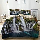 Zozun Funda nórdica, Burney Falls con Agua Turquesa en la Piscina Debajo del Juego de Funda nórdica, con Cremallera y Esquina, Dise?o de Personalidad Funda de edredón de plumón