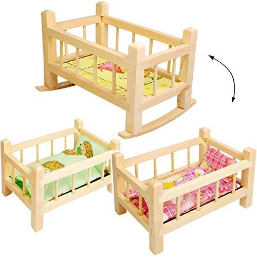 alles-meine.de GmbH Holz - Puppenbett & Puppenwiege - UMBAUBAR - mit Bettzeug - 34 cm lang - Bett aus Naturholz - für Puppen - Decke & Kopfkissen - Wiege Kinderbett Baby - Puppe ..