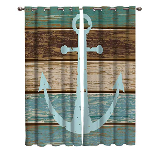JOOCAR Nautical Anchor Rustic Wood Grommet Blackout Curtains Insulated Room Darkening Curtains for Living Room Window Curtain Panels 24Wx39L inch
