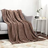 MIULEE Fleece Throw Blanket with Stripe Pattern Fuzzy Flannel Brown Blanket for Couch Plush Warm Cozy Bed Blanket Boho Decor for Bed Sofa Chair Throw Size 50'x60'