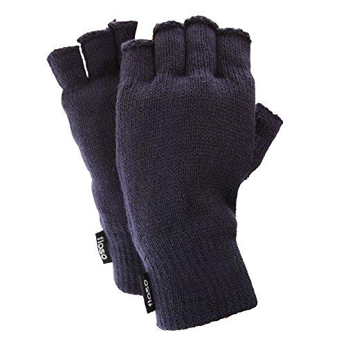 (フロソ) FLOSO メンズ 冬用 シンサレート サーマル 指なし手袋 フィンガーカットグローブ 男性用 (ワンサイズ) (ネイビー)