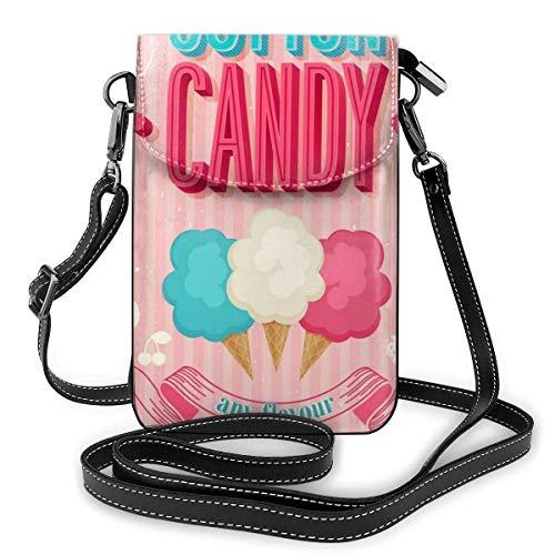 HTDG Handy Geldbörse Crossbody Zuckerwatte Frauen Pu Leder Mode Handtasche mit verstellbarem Riemen