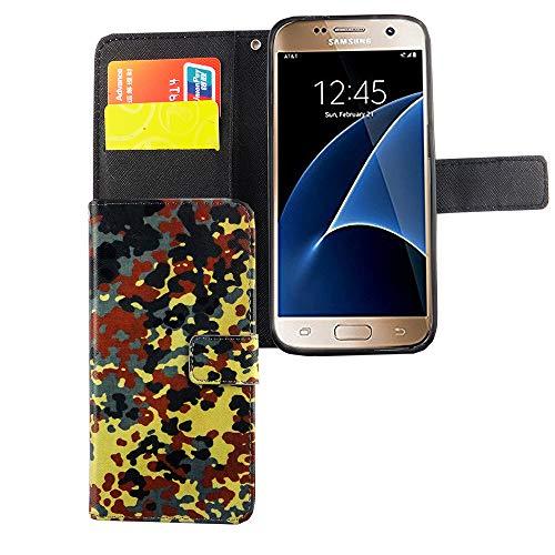 König Design Handyhülle Kompatibel mit Samsung Galaxy S7 Handytasche Schutzhülle Tasche Flip Case mit Kreditkartenfächern - Camouflage Bundeswehr