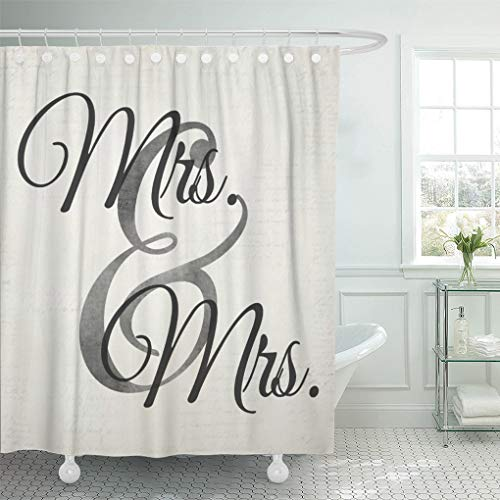 Semtomn Shower Curtain Gay Mrs and White Lesbian Wedding Couple Personalize Custom 72'x72' Home Decor Waterproof Bath Bathroom Curtains Set with Hooks