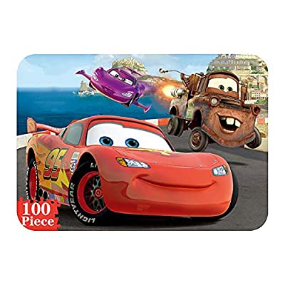 NEILDEN Disney Cars Puzzles in a Metal Box 100 Piece Jigsaw Puzzles for Kids Ages 4-8 Puzzles for Boys and Girls for Children Learning Educational Puzzles (Cars)