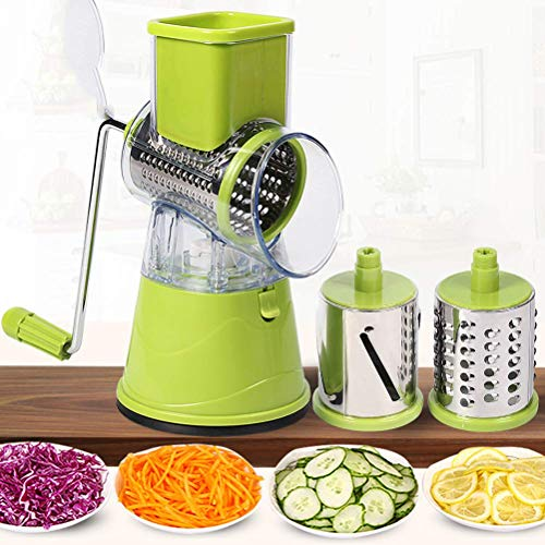 DealMux Rebanador manual Turbo cortador de verduras con 3 cuchillas de acero inoxidable, cortador en espiral, recipiente colector, base equipada con ventosa, para fideos de verduras