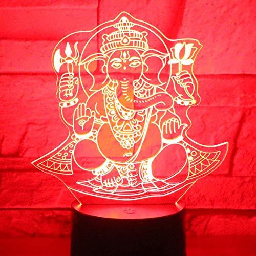 Decoración fresca LED que cambia de color La luz nocturna LED 3D del dios elefante está equipada con una fuente de luz doméstica, una pequeña lámpara de escritorio LED, luz táctil inteligente