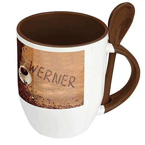 Namenstasse Werner - Löffel-Tasse mit Namens-Motiv Kaffeebohnen - Becher, Kaffeetasse, Kaffeebecher, Mug - Braun
