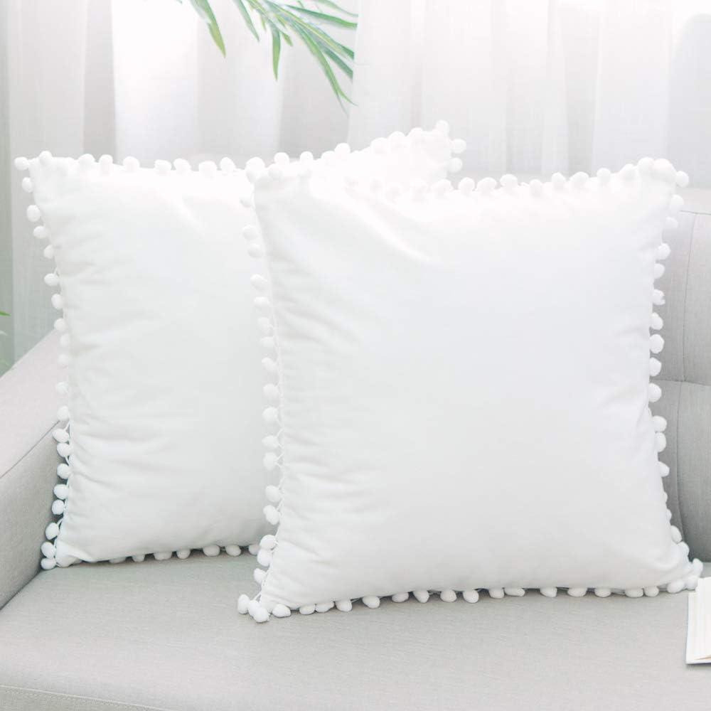 Direct store NATUS WEAVER White Velvet Boston Mall Decorative Pom Throw Pillow Covers