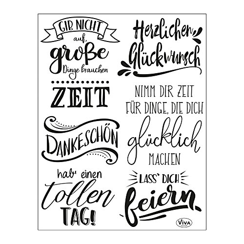 Viva Decor®️ Clear-Stamps (Lettering Deutsch) Silikon Stempel - Prägung Stempel - DIY Dekoration stanzen - Stempel Silikon - DIY Stamp - Stempel Prägung - Made in Germany