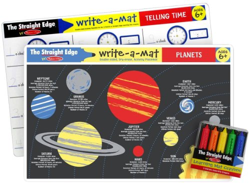 Melissa & Doug Common Knowledge II Write-a-Mat w/ Crayon Bundle for Ages 6+: Planets, Telling Time - The Straight Edge Series