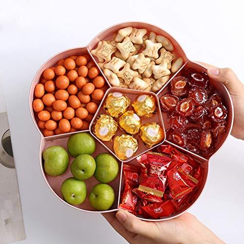 Stecto - Bandeja para servir aperitivos, 6 compartimentos, caja de caramelos de flores, plato de frutas secas, recipiente de plástico para almacenar alimentos con tapa para el hogar, fiesta, boda