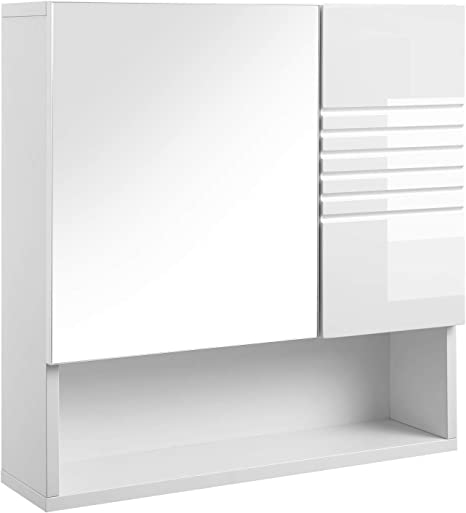 Vasagle Bbk21wt Mirror Cabinet For Bathroom With Height Adjustable Shelves Soft Close Hinges 54 X 15 X 55 Cm White Amazon De Home Kitchen