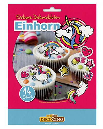 Horror-Shop 14 essbare Einhörner aus Oblate zur Deko von Cupcakes & Muffins