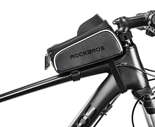 """ROCKBROS Bike Frame Bag Water Resistant Bicycle Front Top Tube Bag Screen Touch Fits Phones for 6.5"""" Below (Upgrade Black)"""