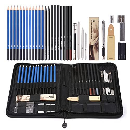 Lote de 42 lápices de dibujo profesional con materiales y herramientas de...