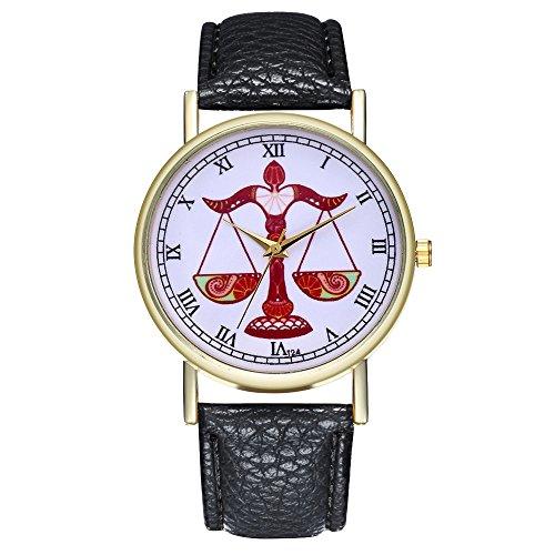 Chenfui Waage Sternzeichen-Armbanduhr Unisex Leder Quarzuhr Damen Geburtstag Weihnachten Uhr (schwarz)