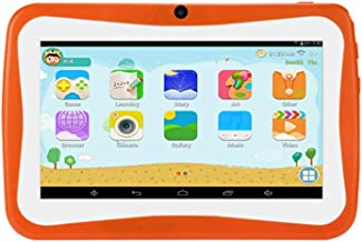 Uonlytech 7 inch Educational Tablet PC HD Android Dual Camera WiFi Quad Core for Kids (Orange)