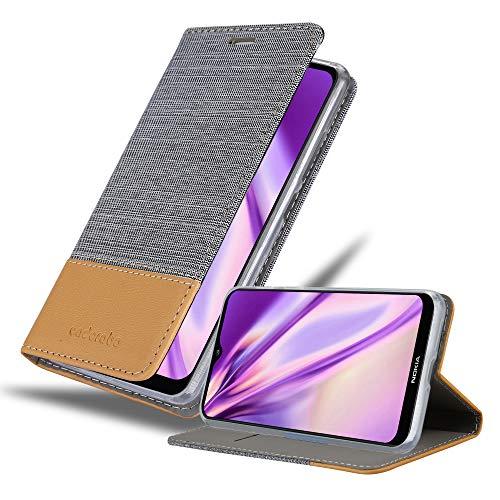 Cadorabo Hülle für Nokia 7.2 in HELL GRAU BRAUN - Handyhülle mit Magnetverschluss, Standfunktion & Kartenfach - Hülle Cover Schutzhülle Etui Tasche Book Klapp Style
