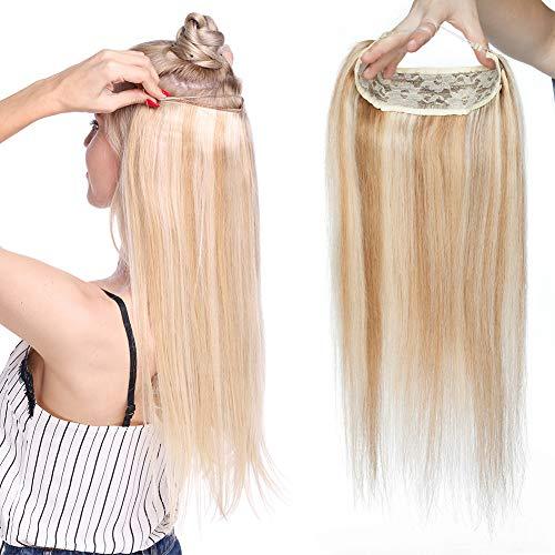 Extension Cheveux Naturel Fil Invisible Maxi Volume - Rajout Une Piece Monobande Cheveux Humain - DOUBLE FIL Transparent a Enfiler (#18+613 SABLE BLON