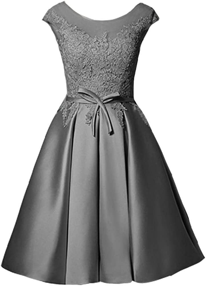 Kivary Lace Sheer Bateau Short A Line Sash Prom Homecoming Dresses Cocktail Gowns